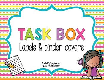 Task Box Storage Case Labels and Binder Recording Sheet Covers