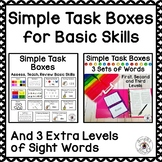 Task Boxes for Basic Skills with 3 Extra Levels of Sight Words