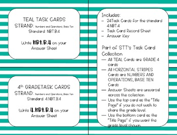 4.NBT.B.4 Add and Subtract within 10000 Task Cards