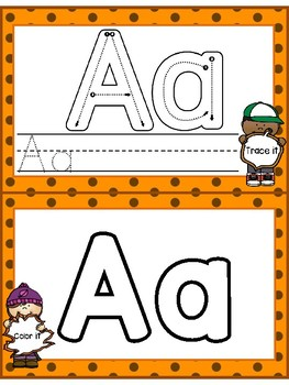 Task Card Alphabet Trace and Color (FALL EDITION)