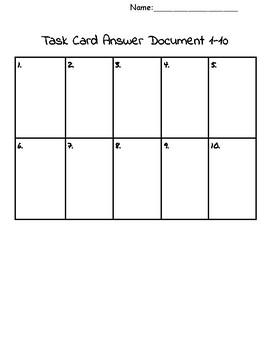 Task Card Answer Sheet