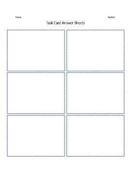 Task Card Answer Sheet (Editable)