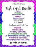 Task Card BUNDLE #4(Poetry, Vocab, Inform, Infer, & Ques Stems)- STAAR Test Prep