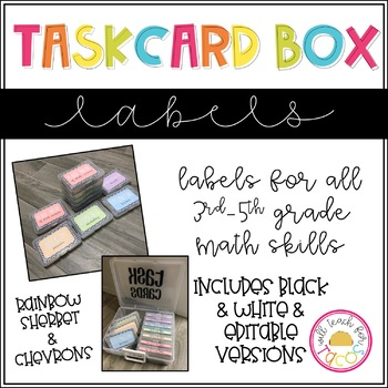 Task Card Box Labels - Chevrons and Sherbet and Black and White