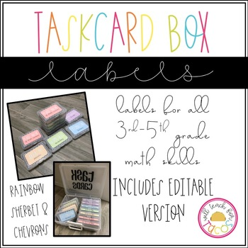 Task Card Box Labels- Sherbet and Chevrons