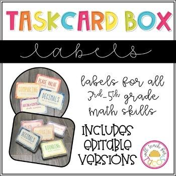Task Card Box Labels Watercolor