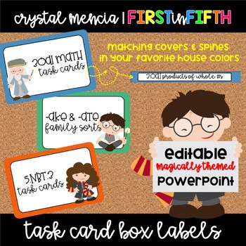 Task Card Box Labels - Wizard Themed - EDITABLE