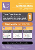 Task Card Bundle 1 | Task Cards on Geometry, Algebra and Mixed Math