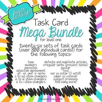 Spanish 1 Task Card Bundle - 26 sets