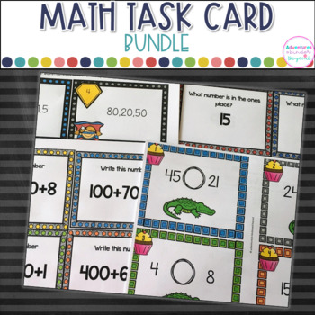 Year Long Math Task Card Bundle- 15 Math Activities!