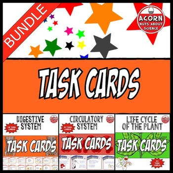 Task Card Bundle: Circulatory System, Digestion, Plant Life Cycle