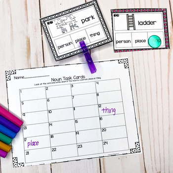 Nouns,Verbs and Adjectives- Task Card Bundle