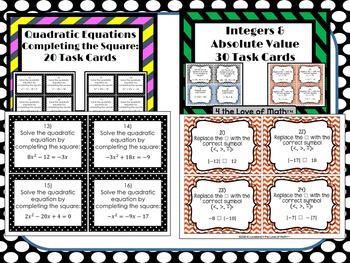 Task Card Bundle: 30 Algebra Task Card Sets