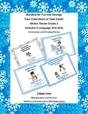Task Card Bundle for Third Grade  Math and Language Arts- Winter Theme