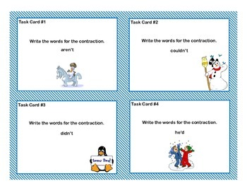 Task Card Bundle for Third Grade  Math and Language Arts- Winter Theme