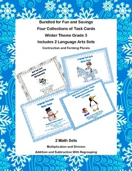 Task Card Bundle for Third Grade  Math and Language Arts-