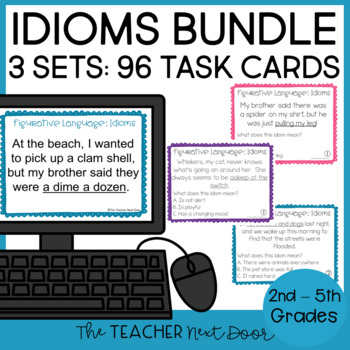 Task Card Bundle: Figurative Language - Idioms for 2nd - 5