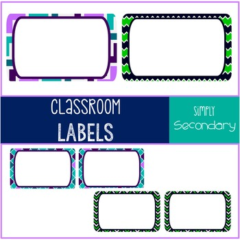 Task Card / Classroom Label Template Navy/Lime & Teal/Purple