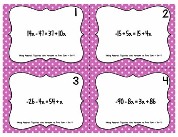 Task Card Collection: Solving Algebraic Equations with Variables on Both Sides