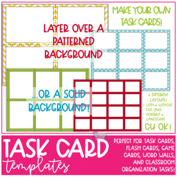Task Card & Flash Card Templates - Commercial use OK!