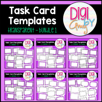 Task Card Clip Art Templates - Transparent Set 1
