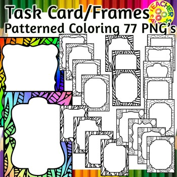 Task Card, Frames or Product Borders Patterned Coloring