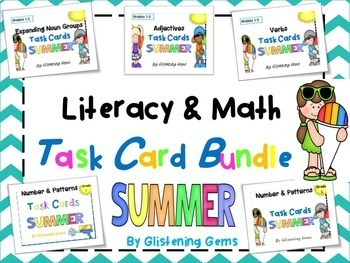 Summer Literacy and Math Task Cards Bundle