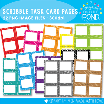 Task Card Pages - Bright Scribble - Clipart for Teachers and Classrooms