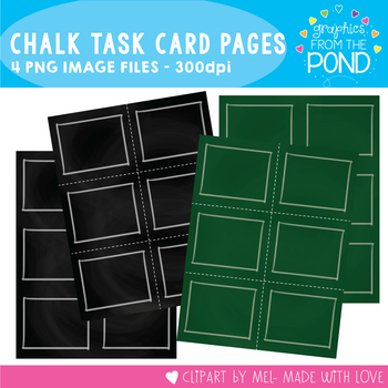 Task Card Pages - Chalkboard- Clipart for Teachers and Classrooms