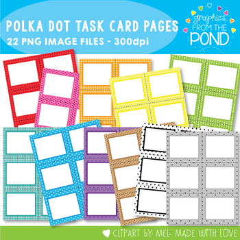 Task Card Pages - Polka Dot - Clipart for Teachers and Classrooms