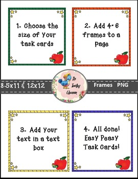Task Card & Product Frames - Book Worm Teacher Pack TheTravelingclassroom