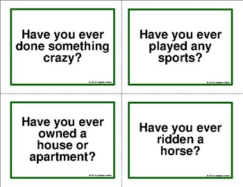 """English Task Cards: Asking Questions with """"Have You Ever ...?"""""""