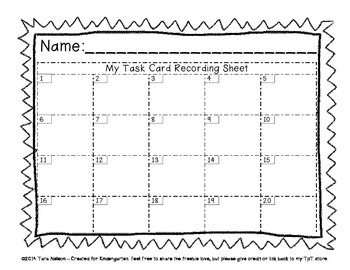 Task Card Recording Sheet