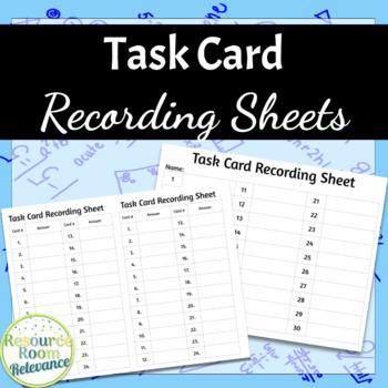 Task Card Recording Sheet