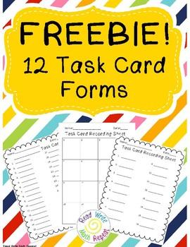 Task Card Recording Sheet Freebie!!