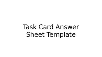 Task Card Recording Sheet Template