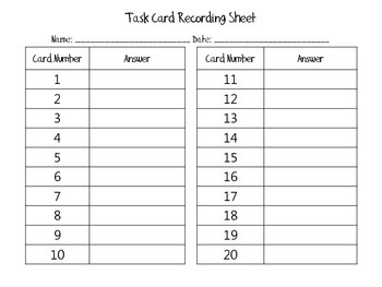 Task Card Recording Sheets FREEBIE