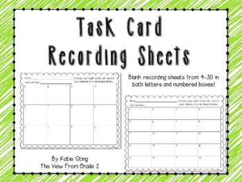 Task Card Recording Sheets: Freebie!