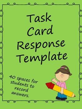 Task Card Response Sheet