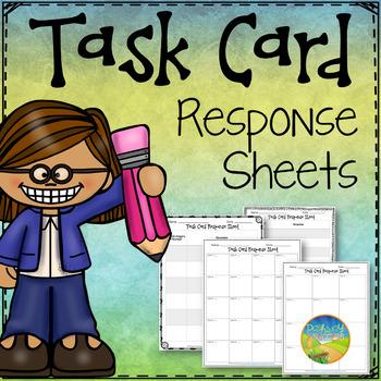 Task Card Response Sheets