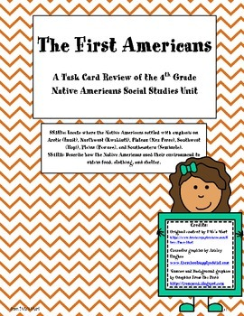 Task Card Review of the 4th Grade Native Americans Social Studies Unit