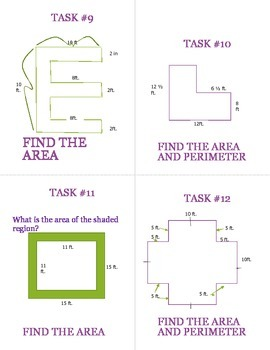 Task Card Rotation with Fractions/Decimals in order to find Perimeter/Area