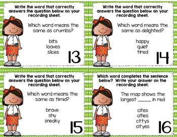 Task Card Sampler 2 Long e (for y), Synonyms, Commas in a Series
