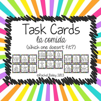Task Card Set - Food in Spanish - Which One Doesn't Fit?