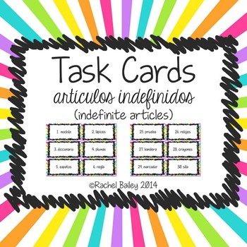 Task Card Set - Indefinite Articles (artículos indefinidos)