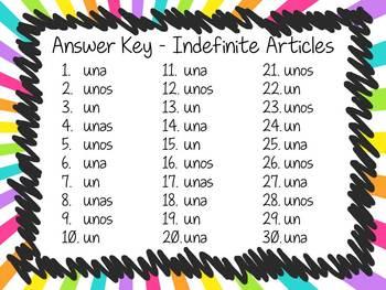 Task Card Set - Indefinite Articles (artículos indefinidos)