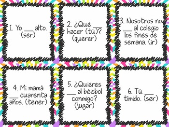 Task Card Set - Irregular verbs - ir, ser, querer, jugar, tener with age