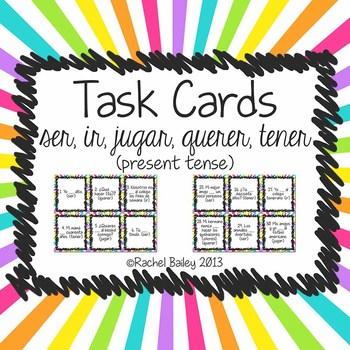 Task Card Set - Irregular verbs - ir, ser, querer, jugar,
