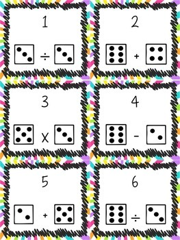Task Card Set - Math with Dice (Matemáticas con Dados) in English and Spanish