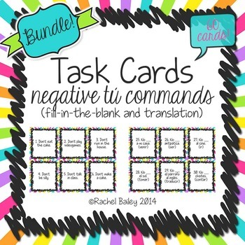 Task Card Set - Negative Tú Commands Bundle